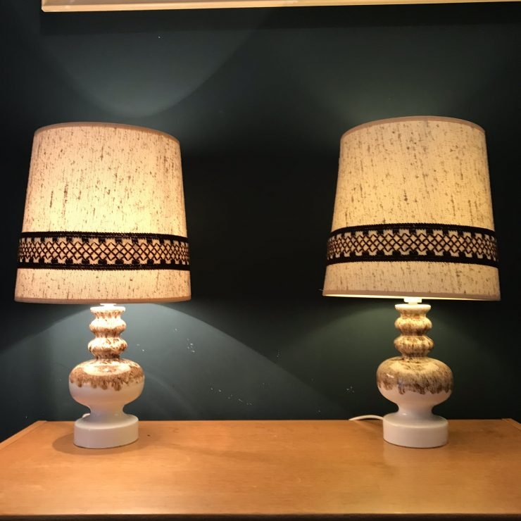 Matching Pair of Vintage 1960s Fat Lava Table Lamps (inc Original Shades)