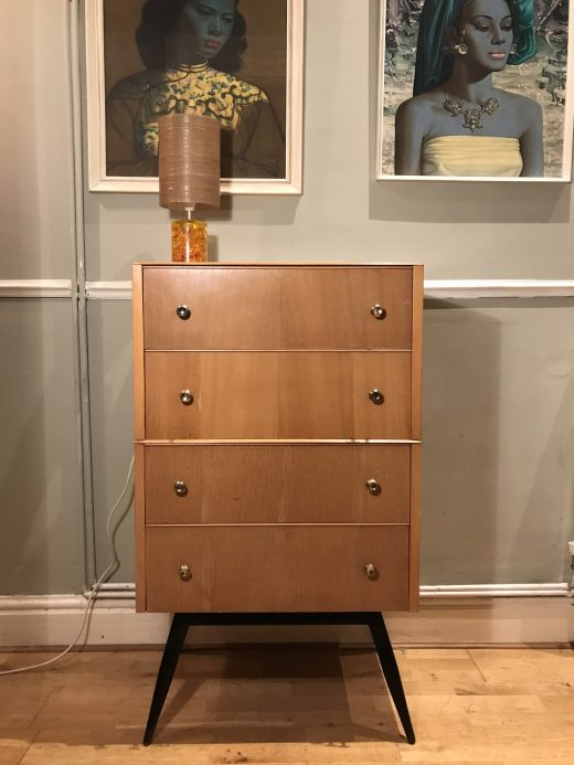 Vintage Mid Century 1950s Chest of Drawers / Dressing Chest / Tallboy on Legs