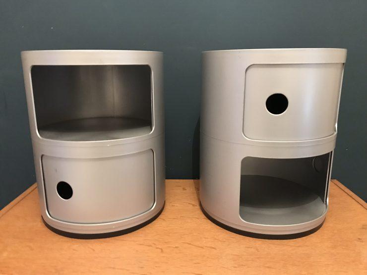Pair of Vintage Componibili KARTELL Designer 2 Drawer Silver Italian Storage Unit 1980s