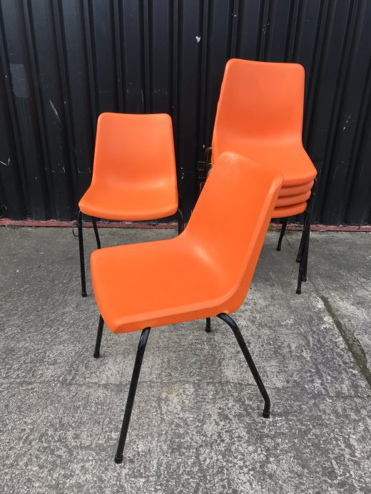 Retro 1960s / 70s Orange Stacking Chairs - School / Dining / Outdoor / Indoor / Cafe