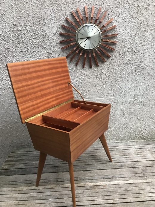 Vintage Mid Century Danish Style Teak Wooden Sewing Box on Legs