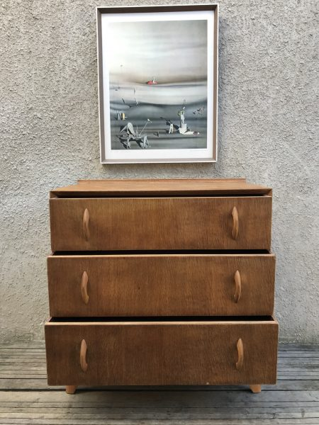 Mid Century Vintage Oak Chest of 3 Drawers Art Deco / Danish Style with Splayed Legs