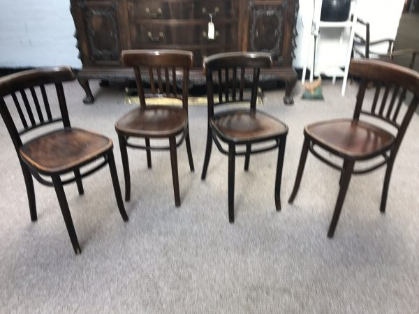 4 x Antique Bentwood Chairs Krakow, Poland Style of Thonet Early 20th Century