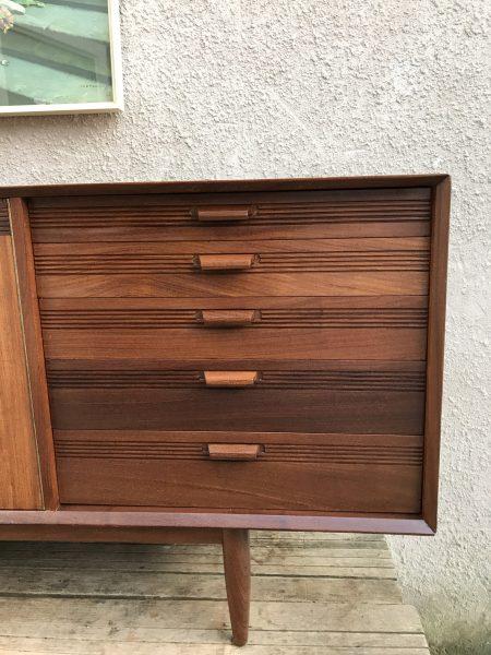 Large 1950s Vintage Teak & Rosewood Veneers Sideboard
