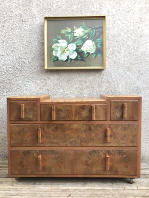 Beautiful Vintage Burr Walnut Chest of Drawers Art Deco 1920s-1950s