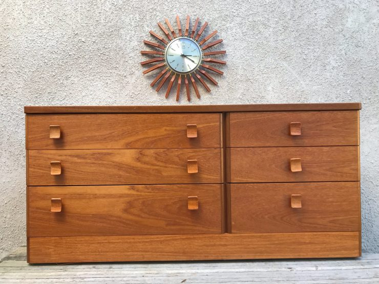 Retro 1970s Vintage STAG Teak Chest of 8 Drawers