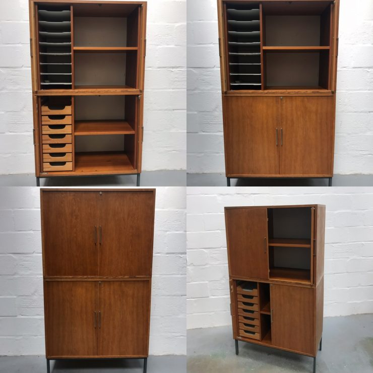 Danish 1960s 1970s OFFICE FURNITURE Tambour Filling Cabinets / Cupboards
