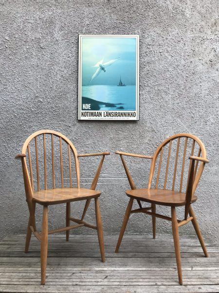 Pair of Vintage ERCOL Windsor Armchairs Carver Kitchen Dining Chairs Blue Label Model 139a
