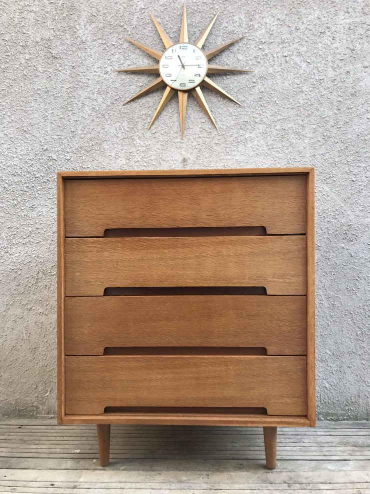 Mid Century STAG 'C' Range Blonde Oak 4 Drawer Chest by John & Sylvia Reid