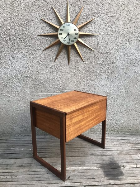 Mid Century Danish Style Teak Wooden Sewing Box on Quadrille Legs