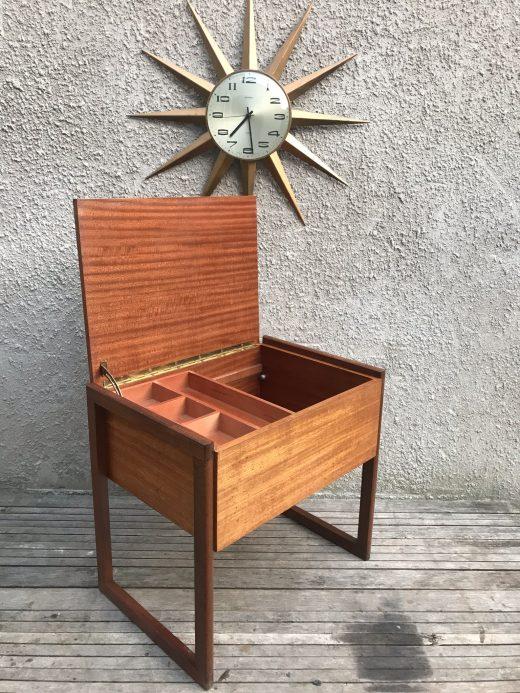 Mid Century Danish Style Teak Wooden Sewing Box on Quadrille Legs