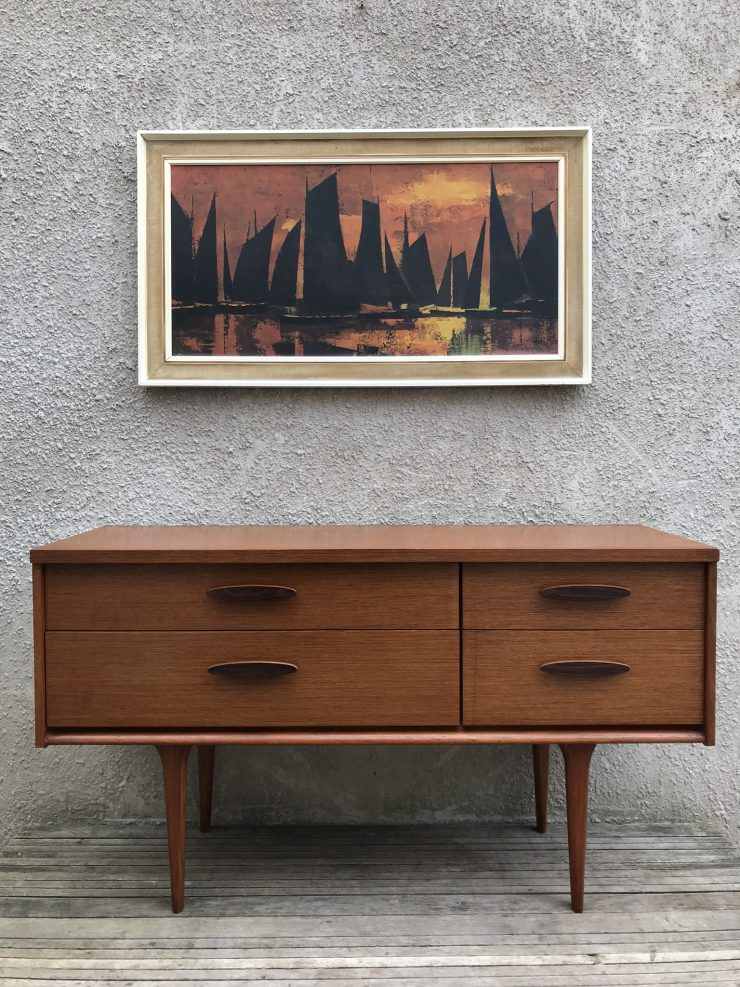 Vintage Mid Century Austin Suite Danish Style Small Sideboard / Dressing Chest