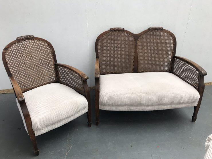 Art Deco 1930s Oak Bergere Sofa and Matching Armchair