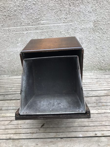 Lovely Art Deco Oak and Metal Coal / Kindling Scuttle Box