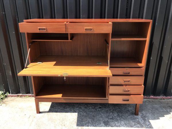 Vintage Retro 1970s MANN EGERTON Military Bookcase Bureau Drinks Cabinet