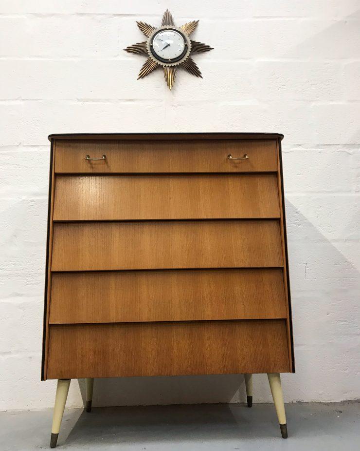Stunning Retro Avalon Chest of 5 Drawers - Vintage Retro Chest Sideboard Tallboy