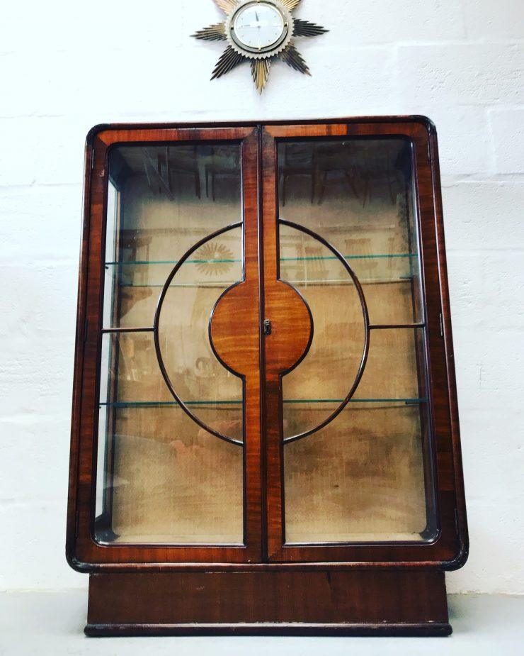 Art Deco Walnut Lockable Bookcase Display Cabinet