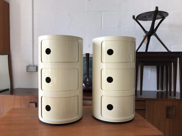 Retro Pair of Vintage Componibilli KARTEL 3 Drawer Cream Italian Storage / Bedside Cabinets