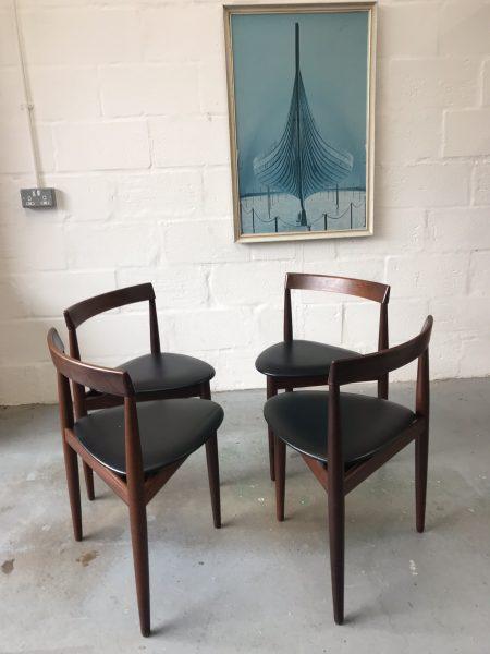 4 x Vintage Mid Century Hans Olsen for Frem Røjle Danish Dining Chairs