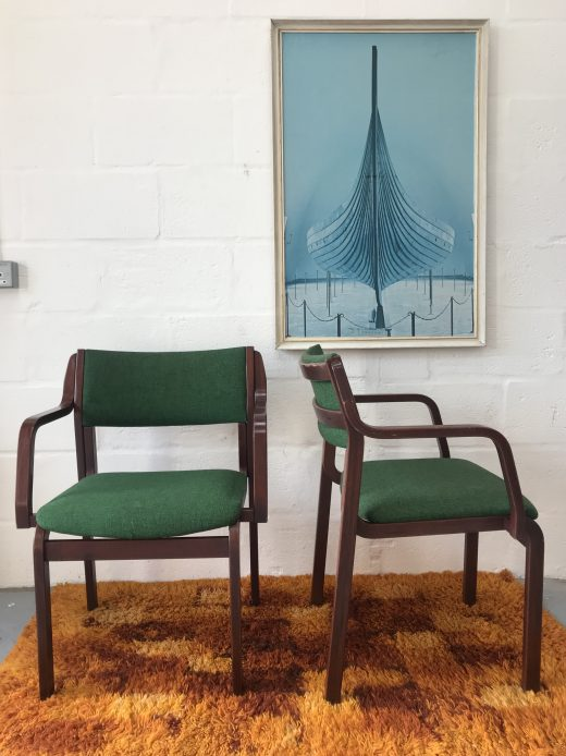 2 x Matching Vintage Retro Danish FARSTRUP Green Dining / Office / Easy Chairs