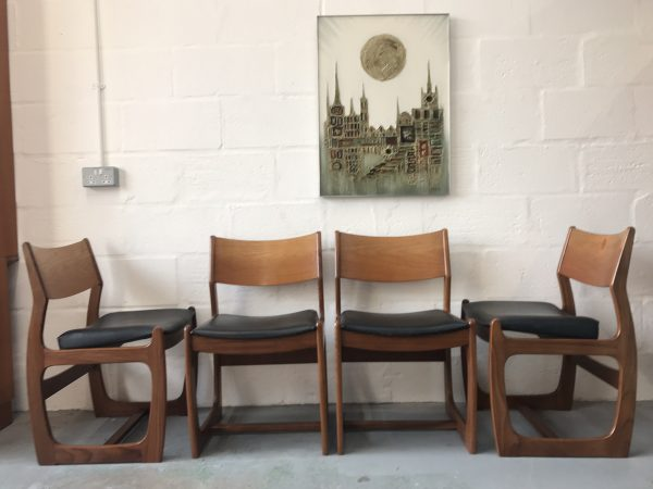 4 x Mid Century PORTWOOD Teak Dining Chairs 1960s (Danish Style)