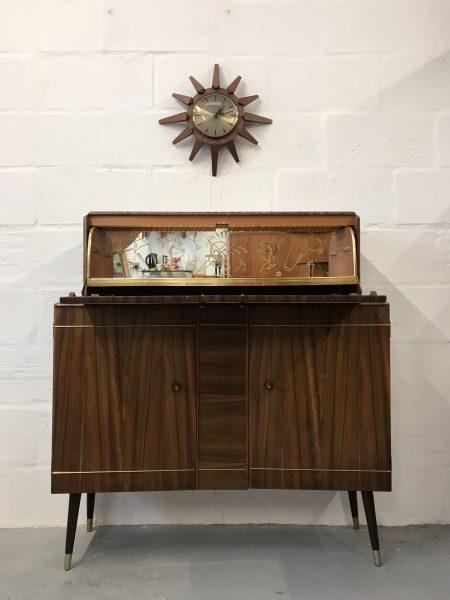 Vintage Mid Century 1950s Cocktail Drinks Cabinet Bar on Dansette Legs