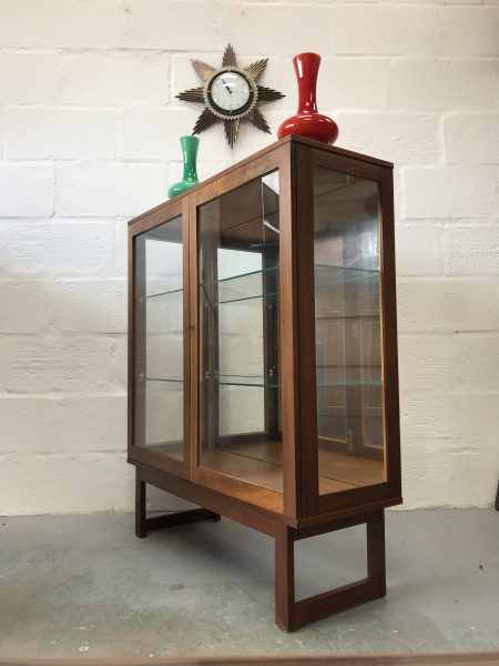 Antique Late Art Deco Burr Walnut Lockable Bookcase Display Cabinet