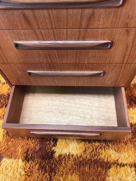 Vintage G PLAN Fresco Mid Century 1970s Teal Tallboy / Chest of Drawers