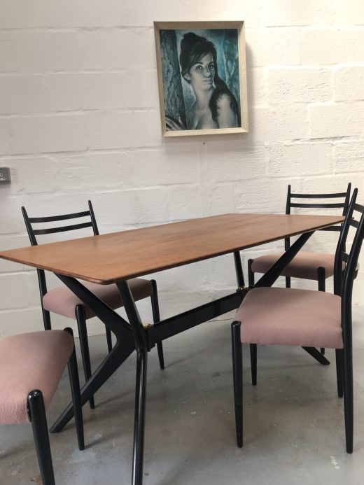 Vintage Original Mid Century 1950s G PLAN Dining 'Helicopter' Table & 4 Chairs