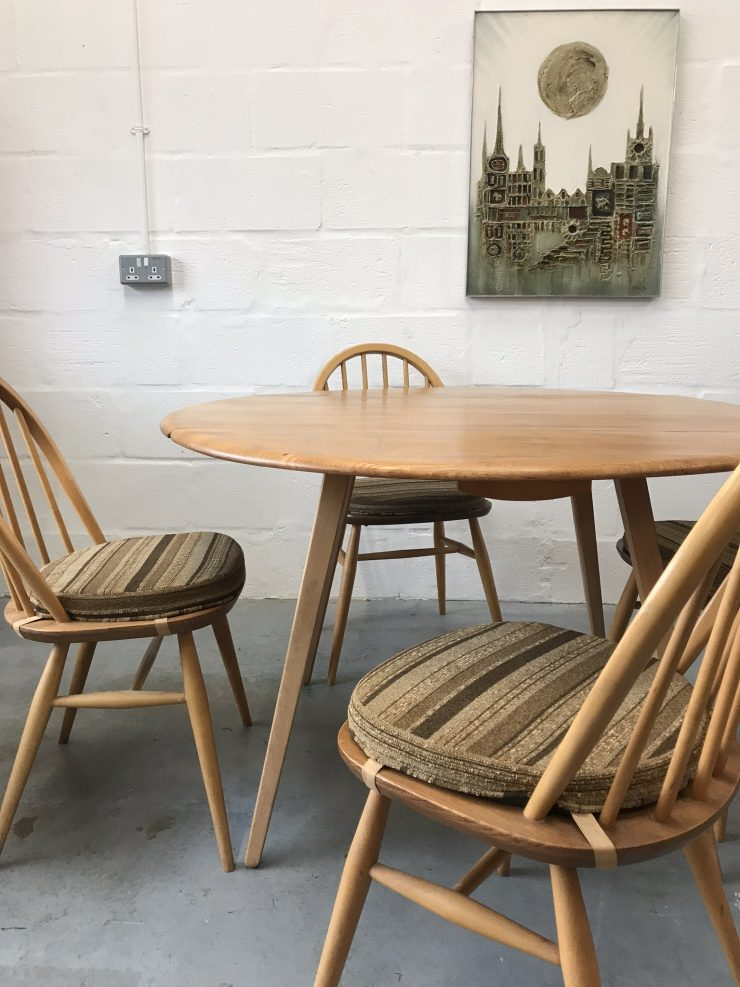 ERCOL Blonde Windsor Drop Leaf Table & 4 Matching Hoop Back Dining Chairs