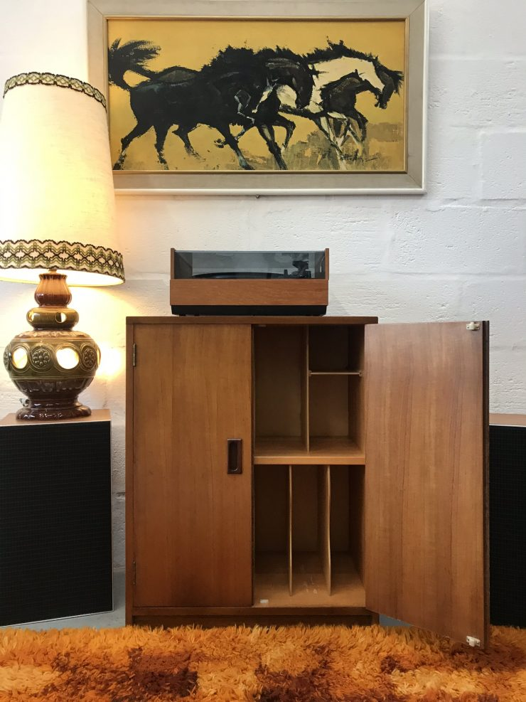 Tall Retro 1970s Vinyl Record Storage / Cupboard / Cabinet - Ready for Hairpins?