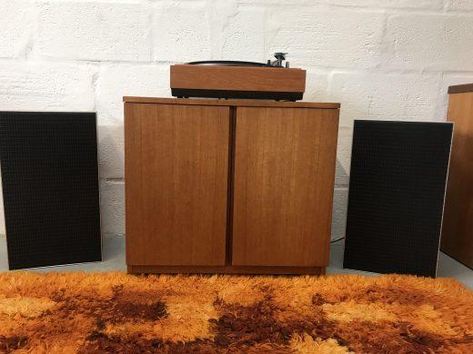 Retro 1970s Vinyl Record Storage / Cupboard / Cabinet On Original Castors