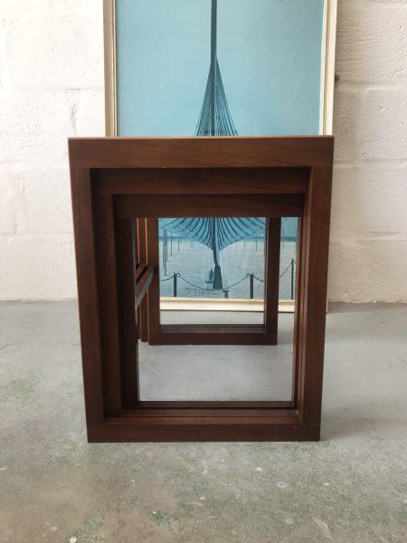 Retro 1970s Danish Style Teak & Glass Nest Of Tables