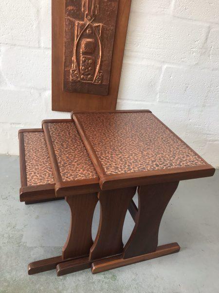 Retro 1970s G PLAN Copper Topped TEAK Nest Of Tables Vintage