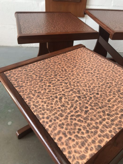 Retro 1970s G PLAN Copper Topped TEAK Nest Of Tables Vintage