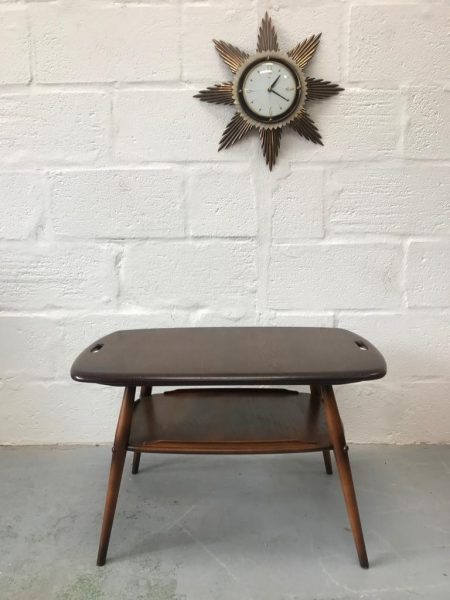 Original Mid Century ERCOL Butlers Tray Coffee Table with Rack