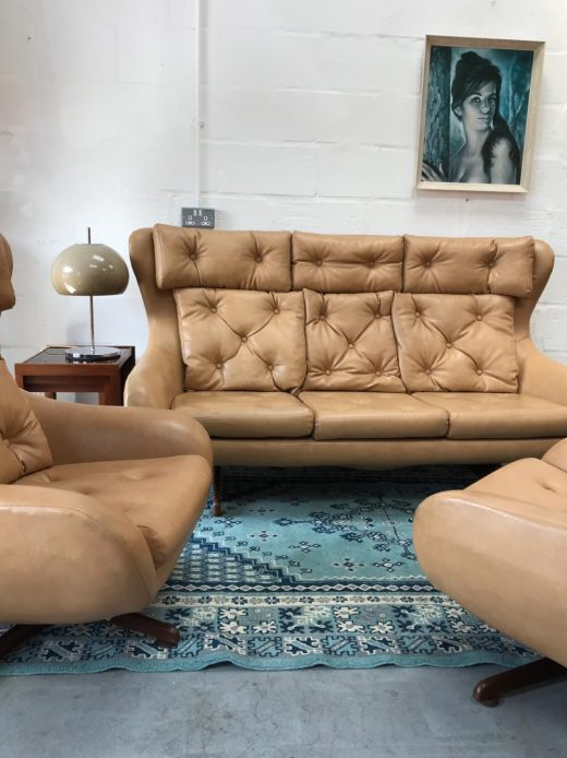 Original 1970s Vintage Retro 3 Piece Faux Leather Lounge Suite