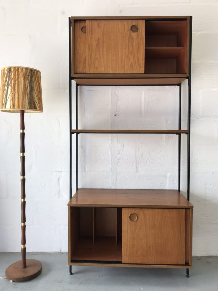 Mid Century Teak Wall Unit with Vinyl Storage by Avalon