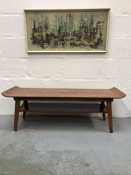 Mid Century Danish Style Vintage Sleigh Top Coffee Table