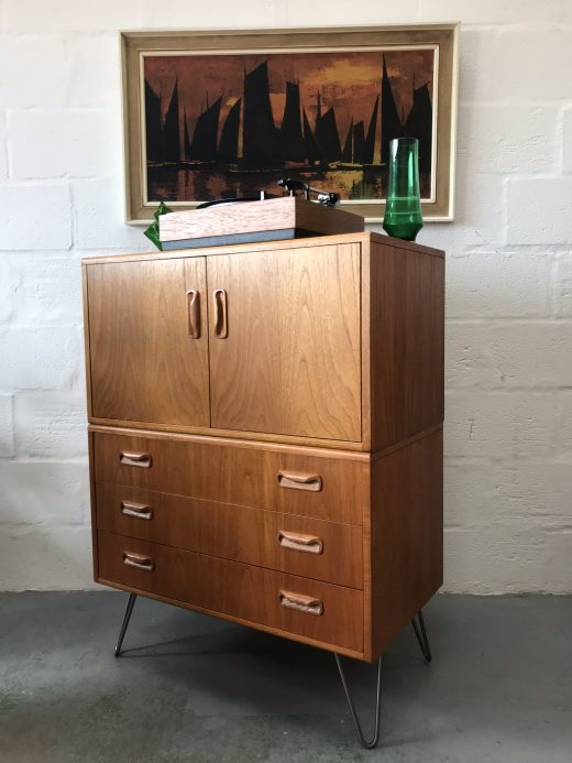 Re-Purposed Vintage G Plan Fresco Cabinet and Drawers on Hairpin Legs