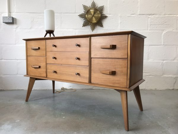 Vintage Mid Century Walnut Dressing Chest / Sideboard with Seven Drawers