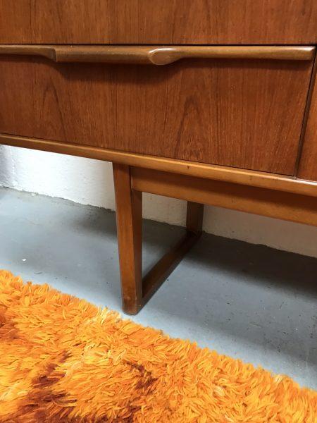 Mid Century 1960s Vintage Teak Sideboard with Sleigh Legs