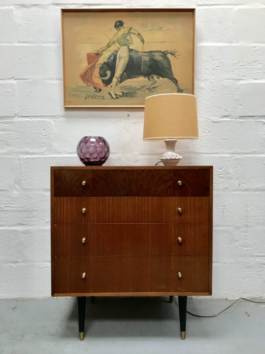 Vintage Chest of Drawers 1960s Mid Century on Dansette Legs