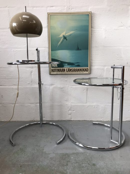 Pair of Retro Eileen Gray Style Classic Glass & Chrome Adjustable Height Side Tables