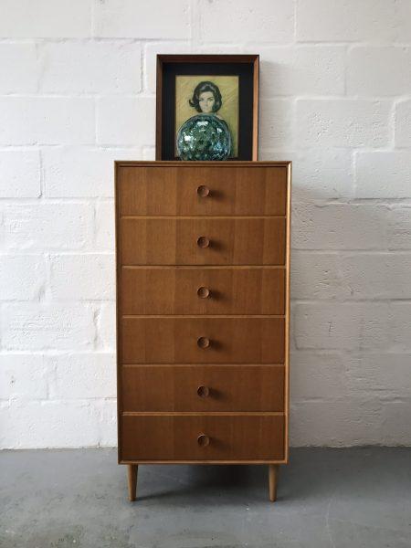 Vintage 1960s MEREDEW Tallboy / Chest of Drawers