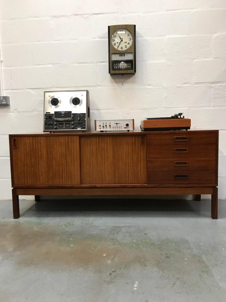 Vintage Retro 1970s Remploy Teak Sideboard Cupboard Industrial Storage Military
