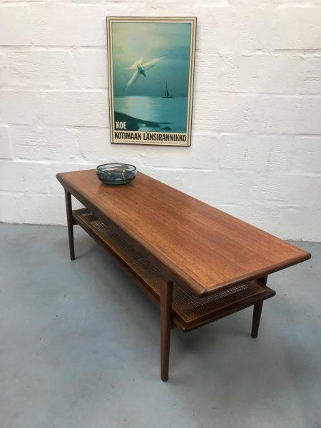 Norwegian Mid Century Coffee Table with Rattan Undershelf