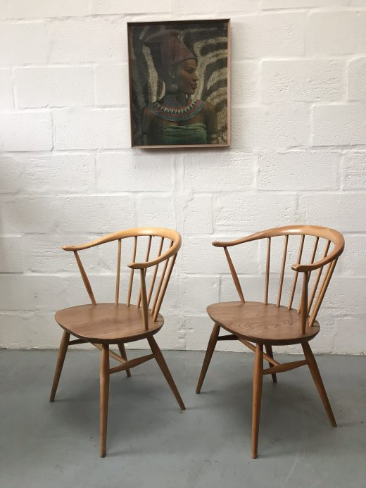 Pair of Ercol Classic 'Cow Horn' Windsor Bow Top Armchairs