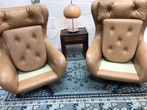 2 x Original 1970s Vintage Retro Faux Leather Armchairs