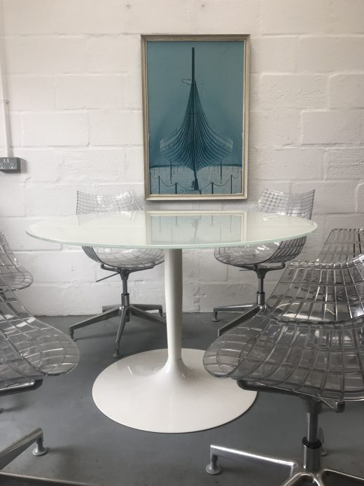 Calligaris Glass Round Dining Table with 6 x Driade Meridianda Swivel Dining Chairs